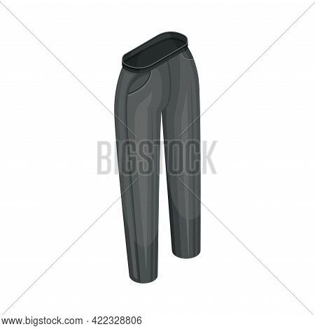 Black Pants Or Trousers As Clothing Or Apparel Item Made Of Fabric Isometric Vector Illustration