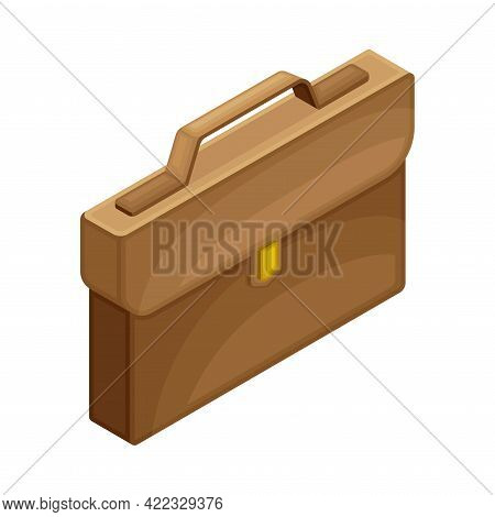 Brown Leather Briefcase With Buckle Isometric Vector Illustration