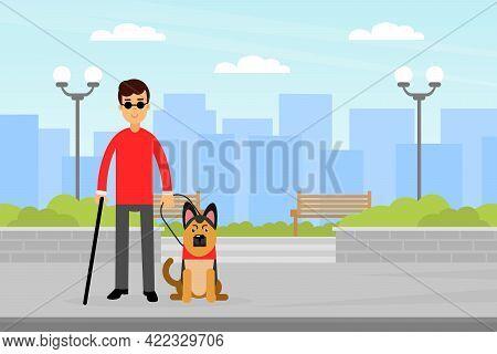 Blind Man Holding Leash Of Leading Dog Walking Along The Street Vector Illustration