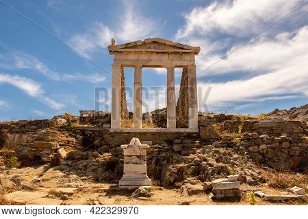 Well Preserved Temple Of Isis On Delos Island Located On The Hill Above The Ancient City With Blue S