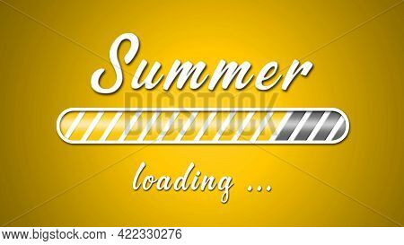 Loading Summer Greeting Card - White Lettering And Loading Bar On Yellow Background In Light Effect