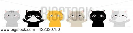 Cat Face Head Icon Set Line. Kitten Silhouette. Different Breeds. Cute Funny Kawaii Cartoon Baby Cha