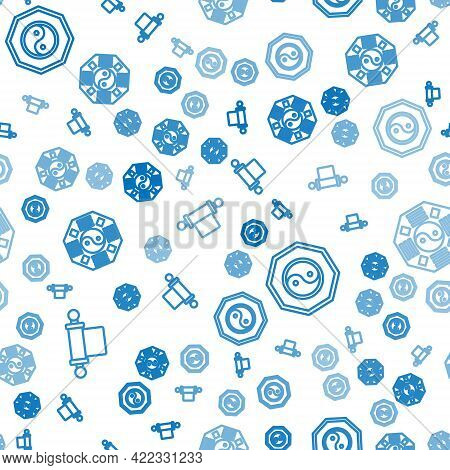 Set Line Decree, Paper, Parchment, Scroll, Yin Yang And Yin Yang On Seamless Pattern. Vector