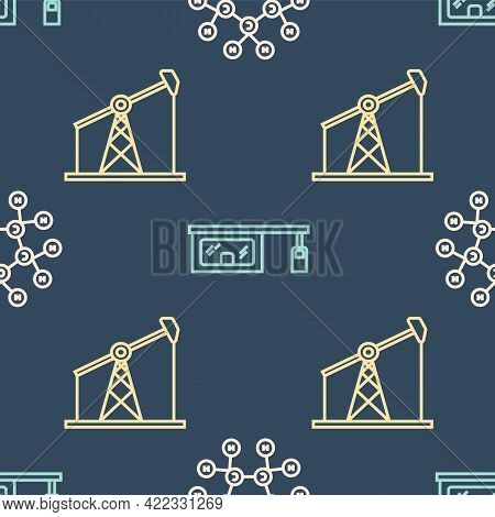 Set Line Molecule Oil, Oil Pump Or Pump Jack And Gas Filling Station On Seamless Pattern. Vector