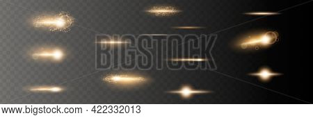 Set. Shining Star, The Sun Particles And Sparks With A Highlight Effect, Golden Bokeh Lights Glitter