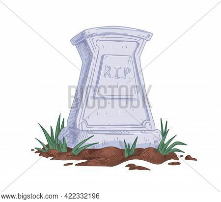 Tombstone With Rip Abbreviation. Upright Gravestone Of Stone Grave With Ground And Grass. Headstone