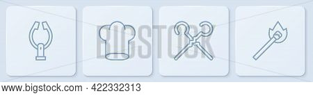 Set Line Meat Tongs, Bbq Skewers, Chef Hat And Burning Match With Fire. White Square Button. Vector