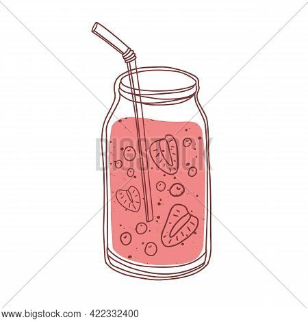 Glass Jar Of Berry Smoothie. Refreshing Summer Strawberry Cocktail With Straw. Cold Detox Drink With