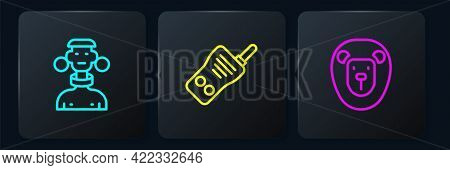 Set Line African Tribe Male, Wild Lion And Walkie Talkie. Black Square Button. Vector