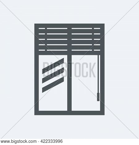 Window With Jalousie Icon In Flat Style Isolated On White Background.vector Illustration.