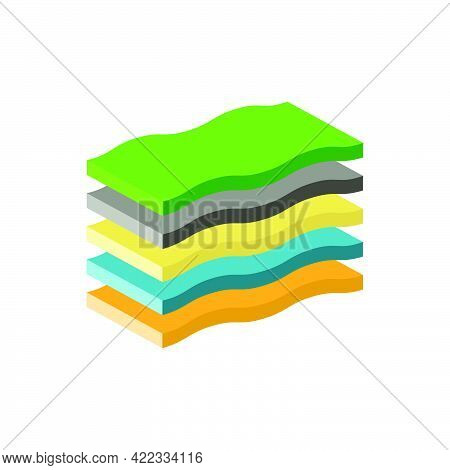Layers Of Soil. Infographic From The Upper Layers Of The Earth's Surface.isometric And 3d View.
