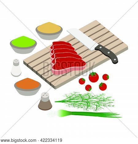 Cooking A Steak For A Barbecue. Cutting Board With A Kitchen Knife, Steak And Aromatic Spices Isolat