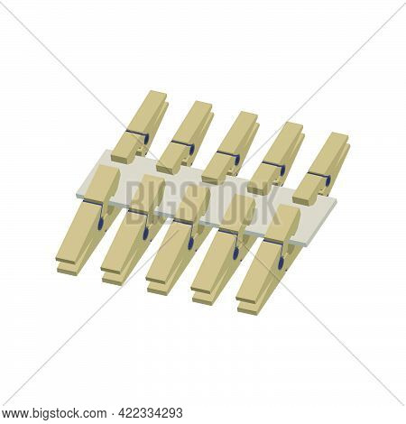 A Set Of Wooden Clothespins Isolated On White Background.isometric And 3d View.