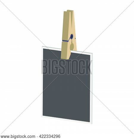Blank Photo On The Clothespin Isolated On White Background.isometric And 3d View.