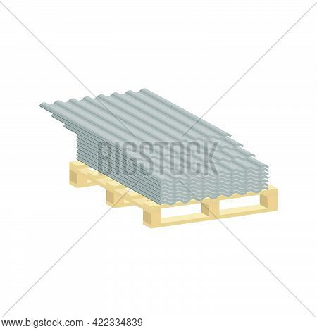 Roofing Slate On A Pallet Isolated On White Background.vector Isometric And 3d View.
