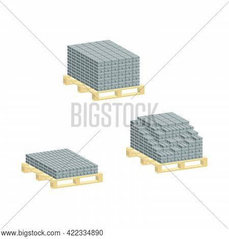 Set Of Paving Slabs On A Pallet Isolated On White Background.vector Isometric And 3d View.
