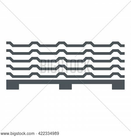 Roofing Sheet Iron On A Pallet Icon In Flat Style Isolated On White Background.vector Illustration.