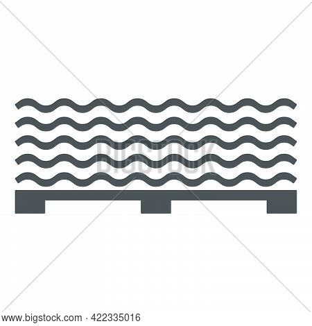 Roofing Slate On A Pallet Icon In A Flat Style Isolated On White Background.vector Illustration.