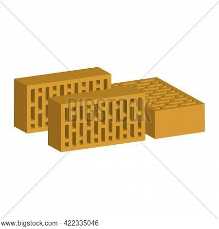 Building Bricks Isolated On White Background.3d Vector Illustration And Isometric View.