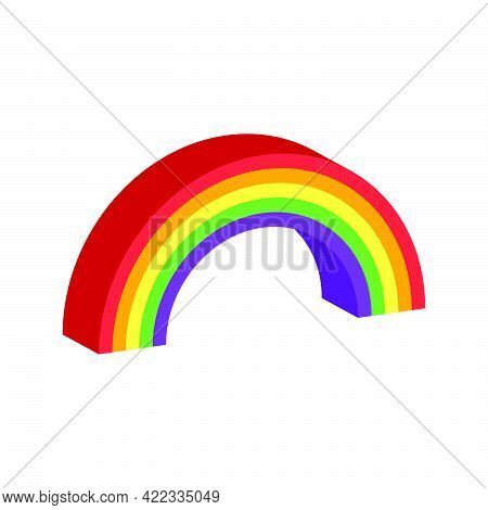 Rainbow Icon Isolated On White Background.3d Vector Illustration And Isometric View.
