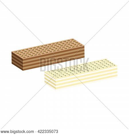 Two Types Of Rectangular Crispy Waffles With Milk Filling And Chocolate. Confectionery Crispy Desser