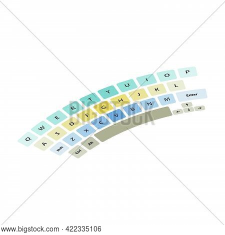 Keyboard With Multi-colored Buttons Isolated On White Background.vector Illustration.
