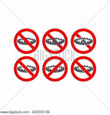 Set Sign Forbidden To Hunt For A Trap In A Flat Style Isolated On White Background.vector Illustrati