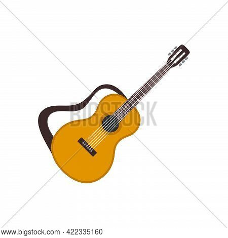 Acoustic Guitar Six-stringed Icon In A Flat Style Isolated On White Background.vector Illustration.