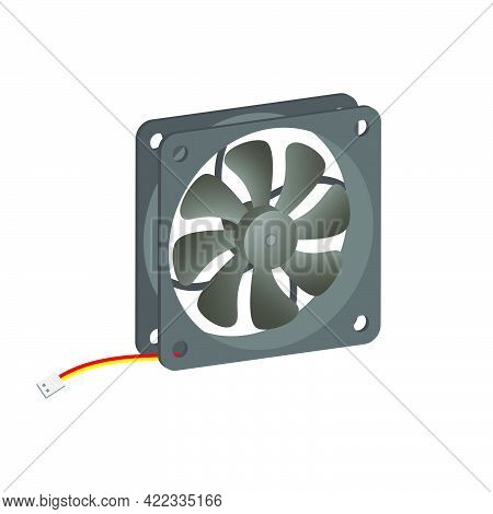 Realistic Pc Cooler.computer Hardware Fan Isolated On White Background.3d Vector Illustration And Re