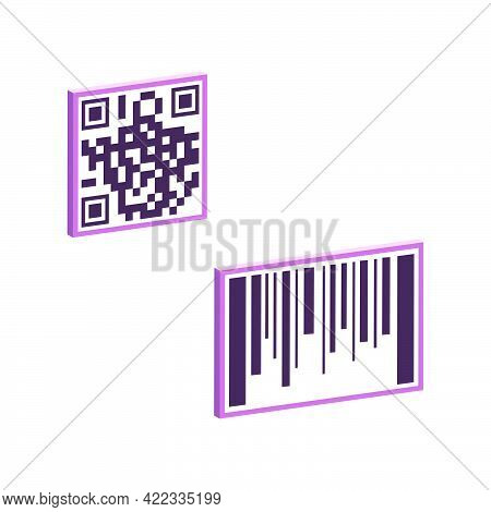 Barcode And Qr Code Isolated On White Background.3d Vector Illustration And Isometric View.