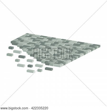 Layout Example Of Paving Slabs.walking Alley Isolated On White Background.vector Isometric And 3d Vi