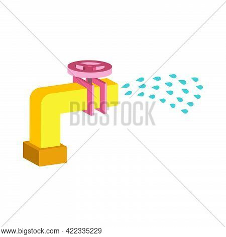 Water Pipe With Open Valve And Spray Of Water Isolated On White Background.vector Isometric And 3d V