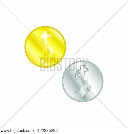 Coins Gold And Silver In Flat Style Isolated On White Background.vector Illustration.