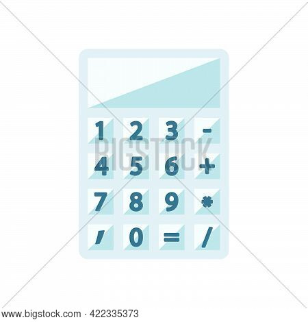 Calculator In Flat Style Isolated On White Background.vector Illustration.
