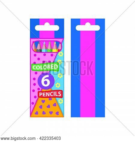 Color Pencils For Drawing Six Colors In A Colorful Packaging For Children Isolated On White Backgrou