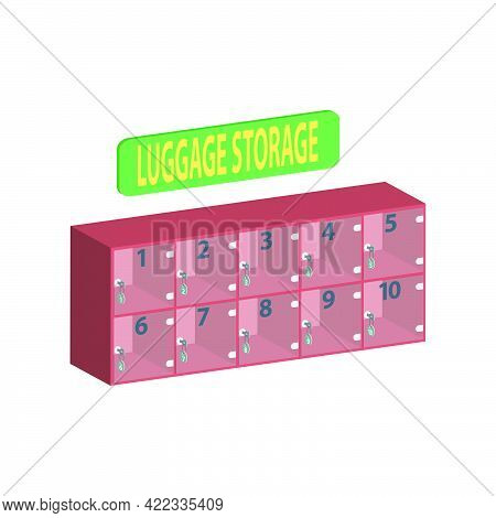 Luggage Storage, Transparent Cells In The Storage Room In The Supermarket Isolated On White Backgrou