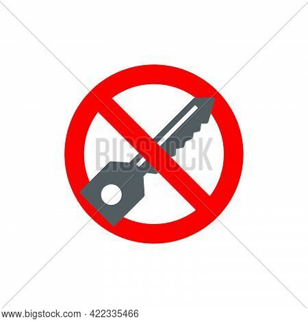 Prohibition Sign.no Door Locks In Flat Style Isolated On White Background.vector Illustration.