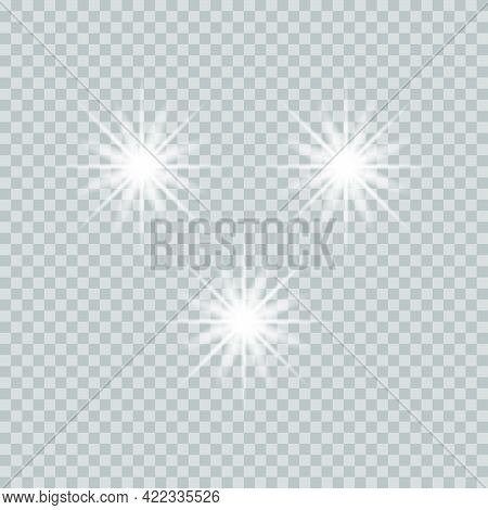 Transparent Shining Stars With A Luminous Effect.