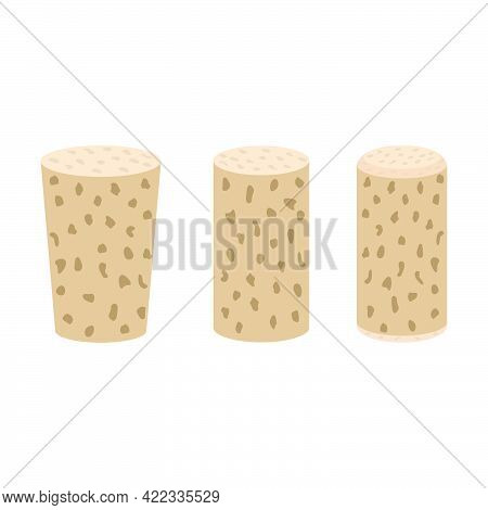 Set Of Wine Corks Isolated On White Background.3d Vector Illustration And Isometric View.