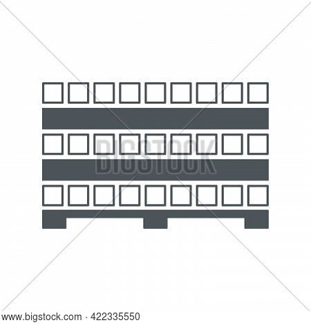 Profile Metal Pipe Stacked In Piles On A Pallet In Flat Style Isolated On White Background.vector Il