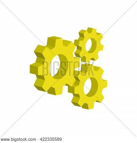 Gear Mechanism Isolated On White Background.3d Vector Illustration And Isometric View.