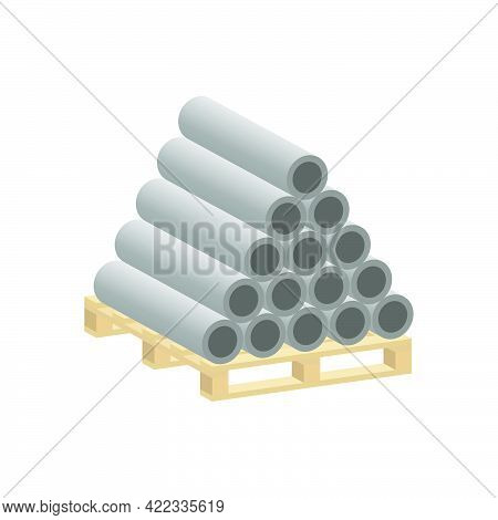 Asbestos Pipes On A Pallet Isolated On White Background.vector Isometric And 3d View.