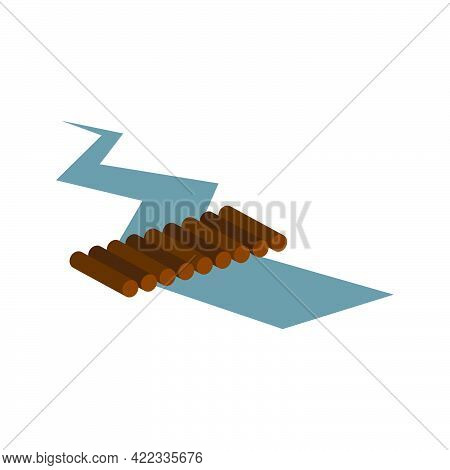 Crack In The Ground. Ground Fracture After Seismic Activity Isolated On White Background.vector Illu