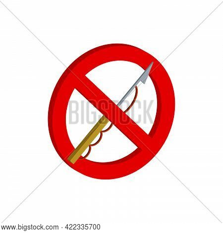 Prohibition Sign.forbidden To Use A Harpoon For Underwater Fishing Isolated On White Background.