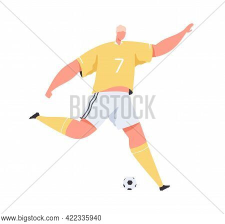 Professional Soccer Player Running And Kicking Ball. Sportsman Playing European Football. Male Footb