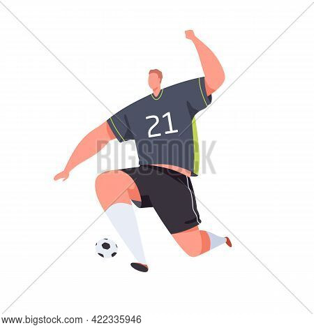Soccer Striker Running And Kicking Ball With Foot. Football Player Playing. Professional Footballer