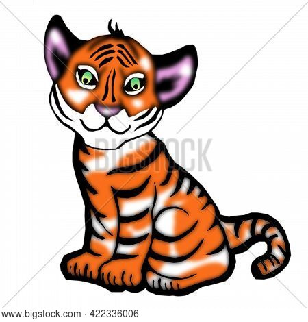A Drawing Of An Orange Sitting Tiger With Greenish Eyes Isolated On A White Background. The Symbol O