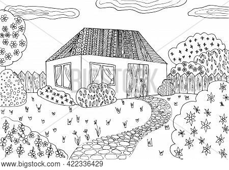 Doodle Landscape Cozy Cabin Coloring Page For Adults. Fantastic Graphic Artwork. Hand Drawn Simplefl