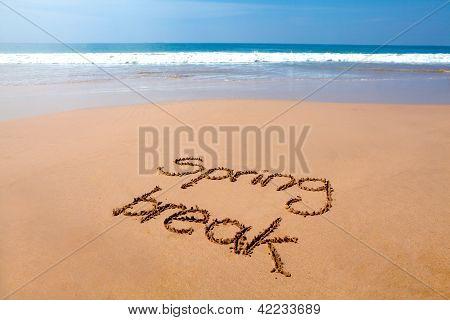 Spring Break Written In Sand - Tropical Beach