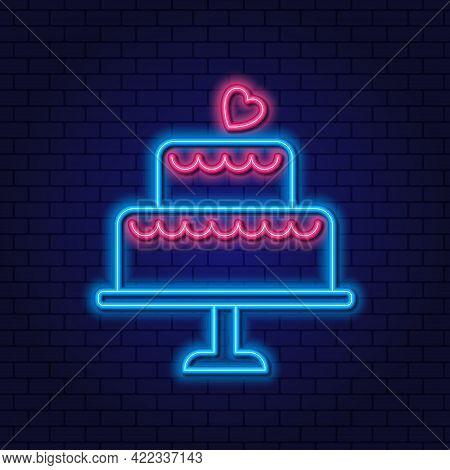 Two Tier Wedding Cake Neon Sign. Wedding Concept. Neon Big Cake. Glowing Neon Linear Design Element